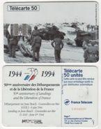 TELECARTE 50 UNITES 50e ANNIVERSAIRE DEBARQUEMENTS 6 JUIN 1944 JUNO BEACH COURSEULLES SUR MER -06 94 TIRAGE 1 000 000 EX - Armée
