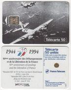 TELECARTE 50 U. 50e ANNIVERSAIRE DEBARQUEMENTS 6 JUIN 1944 AVIONS MARAUDERS B26 US AIR FORCE - 06 94 TIRAGE 1 000 000 EX - Armée