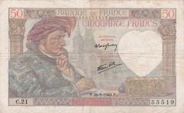 FRANCE : BILLET  50 FRANCS JACQUES COEUR Du 26-9-1940 - épinglages, Plis, Salissures (2 Scan) L 2 - 1871-1952 Circulated During XXth
