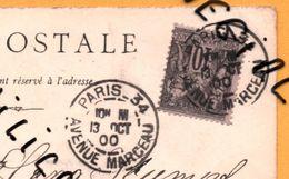 SANS LEVEE, PARIS 34 AVENUE MARCEAU Sur Cpa SAGE Pour L'Allemagne - Expo. Universelle Paris 1900 - Palais Des Armées - Marcofilie (Brieven)