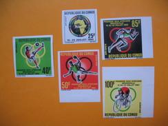 Timbre Non Dentelé   N° 175 à 179  Jeux Africains De Brazzaville   1965  Avec Charnières - République Du Congo (1960-64)