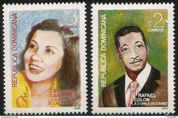 1995.Dominican Republic Dominicana Poular Singers Music  Complete Set Of 2  MNH - Dominikanische Rep.