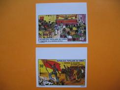 Timbre Non Dentelé   N° 381 Et 382  3 ème Anniversaire De La Conférence Nationale  1975 - Republic Of Congo (1960-64)
