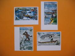 Timbre Non Dentelé   N° 383 à 386  Pêches Traditionnelles  1975 - République Du Congo (1960-64)