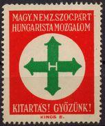 Hungary WW2 Nazi Arrow Cross Party Nyilaskeresztes Hungarista Mozgalom Charity Stamp CINDERELLA LABEL VIGNETTE - MH - WW2 (II Guerra Mundial)