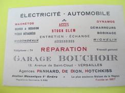 Carte Commerciale/Electricité Automobile/Garage BOUCHOIR/Panhard De Dion Hotchkiss/Michelin/VERSAILLES/vers1910-30 CAC85 - Automobilismo