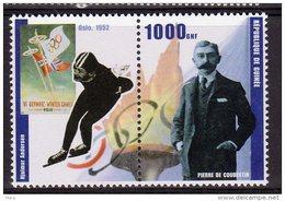 Republic De Guinee Olympics Hjalmar Andersen Mnh Stamp Pair With Pierre De Coubertin - Winter 1952: Oslo