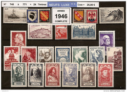 FRANCE - Année Complète 1946 - NEUF LUXE ** 24 Timbres - 1940-1949