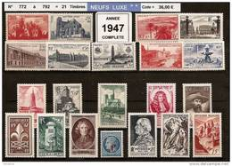 FRANCE - Année Complète 1947 - NEUF LUXE ** 21 Timbres - 1940-1949