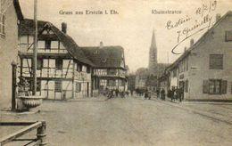 CPA - ERSTEIN (67) - Aspect De La Rue Du Rhin à La Hauteur De La Fontaine à Bras En 1919 - France