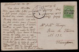 Carte Fantasie : ------ Griffe D'Origine HEYST-OP-DEN-BERG Sur OBP 137 -- 28 Décembre 1918 !!! --- Enkelcirkel Waereghem - Postmark Collection