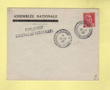 Parlement - Congres De Versailles - 16-1-1947 - Assemblee Nationale - Marianne De Gandon - Postmark Collection (Covers)
