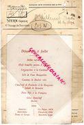 75- PARIS- MENU DEJEUNER DU 6 JUILLET 1912- ALEXANDRE MILLERAND-PRESIDENT REPUBLIQUE-STERN GRAVEUR - Menus