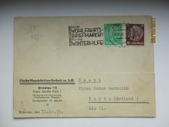 1936 BRESLAU  POLAND WROCLAW BRIEFMAKEN FÜR DIE WINTERHILFE , TO ESTONIA    , O - Deutschland