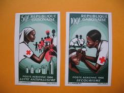 Timbre Non Dentelé   N° PA 43 Et 44   Croix Rouge Nationale  1966 - Gabon (1960-...)
