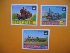 Timbre Non Dentelé   N° 348 à 350  Locomotives Anciennes    1975 - Haute-Volta (1958-1984)