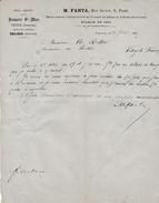 Facture 1881 / FANTA Rue Guyot à Paris /Seule Maison Import Bière De Vienne Autriche / Brasseie St Marc - France
