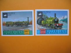 Timbre Non Dentelé   N° PA 185 Et 186  Locomotives Anciennes   1975 - Haute-Volta (1958-1984)