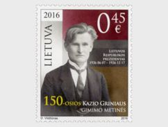 LITHUANIA 2016 The 150th Birth Anniversary Of Kazys Grinius - Lithuania