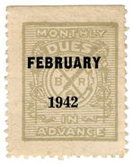(I.B) Cinderella Collection : B Of R Dues In Advance (February 1942) - 1902-1951 (Kings)