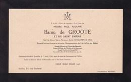 IXELLES Messire Paul De GROOTE Veuf SINGLETON Of MELL Diplomate Belge 1944 Carton Avis Décès - Décès