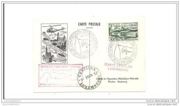 Carte Exposition Philatelique Strasbourg 1952 Premier Vol Par Helicoptere - Poste Aérienne