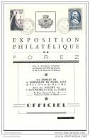 Programme Exposition Philatelique Saint Etienne 1953 - Briefe U. Dokumente