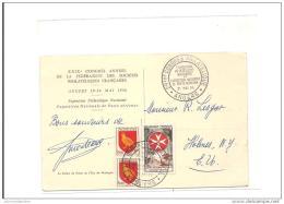Carte Exposition Philatelique Poste Aerienne Angers 1956 - Poste Aérienne