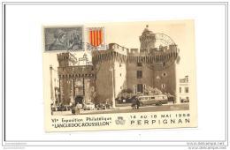Carte Exposition Philatelique Perpignan 1958 La Cathedrale Saint Just Et Le Palais Des Archeveques - Francia