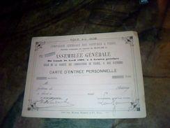 Vieux Papier Carte  D Entree Personnelle A L Assemblee Generale De La Compagnie Generale Des Voitures A Paris Annee 1902 - Other