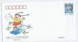 1999 CHINA Postal STATIONERY COVER Illus PHILATELIC EXHIBITION, CHILD Holding Letter, Stamps - 1949 - ... République Populaire