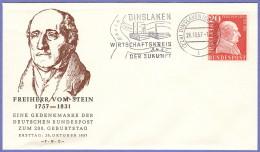 GER SC #776  1957 Baron Heinrich Friedrich Vom Und Zum Stein FDC 10-26-1957 - FDC: Covers