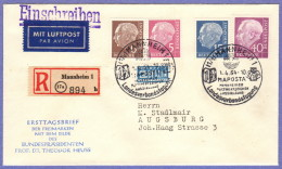 "GER SC #704-5, 709, 713 + ""NOTOPFER""  1954 Pres. Theodor Heuss Registered FDC 04-01-1954 - [7] Federal Republic"