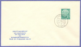 GER SC #706 1954 Pres. Theodor Heuss FDC 07-28-1954 - FDC: Covers