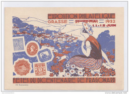 Entier Postal 90 C Semeuse Exposition Philatelique Grasse 1932  Draim Tirage 25 Ex - Overprinter Postcards (before 1995)
