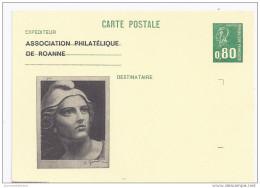 Entier Postal 80c Becquet Association Philatelique Roanne Gandon - Postal Stamped Stationery
