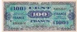 TRESOR 100 FRANCS FRANCE 1945 Série 6 - 0 épinglage, Pli Vertical Peu Marqué (2 Scan) 6 - 1945 Verso France
