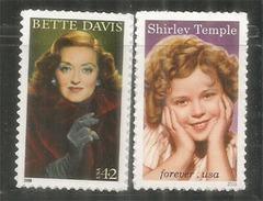 Shirley Temple (Glad Rags To Riches 1933) & Bette Davis. 2 Timbres Neufs ** Etats-Unis Année 2016 - Cinema