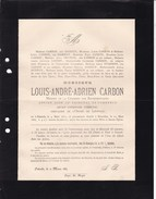 OSTENDE OOSTENDE Louis CARBON Député Conseiller Communal 1817-1887 Famille GODDYN - Obituary Notices