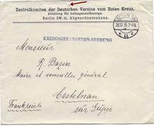 1915, LETTRE EN FRANCHISE ZENTRALKOMITEE DER DEUTSCHEN VEREINE VOM ROTEN KREUZ BERLIN, Pour CASTELNAU LOT ET GARONNE - Postmark Collection (Covers)