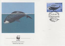 Enveloppe  FDC   1er   Jour    ILES  FEROE      MAMMIFERES    MARINS      WWF    1990 - FDC