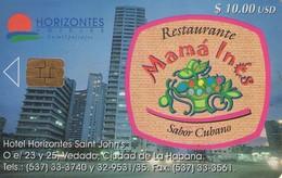 TARJETA TELEFONICA DE CUBA (RESTAURANTE MAMA INES) (360) - Cuba