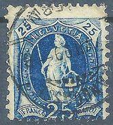 Stehende Helvetia 73D, 25 Rp.blau  LÄNGGASSE (BERN)           1899 - Usati