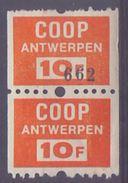BELGIUM: 2 Spaarzegels – With Glue: §@§ COOP - Antwerpen §@§: FOOD,COÖPERATIVE,TRADE, - Cachets Généralité