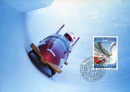 """CP PJ Du LIECHTENSTEIN De 1993 Avec Timbre """"JO D'Hiver Lillehammer - Bobsleigh"""" - Oblit. PJ VADUZ 6.12.1993 - Hiver 1994: Lillehammer"""