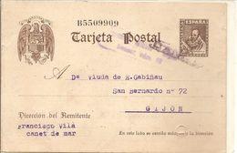 Tarjeta Postal De España, Efigie De Cervantes, CENSURA MILITAR De GIJON Nº 10 Violeta - Stamped Stationery