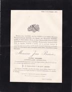 BEYNE Maître Ardoisier Jean BAIWIR Conseiller Communal 51 Ans 1893 Famille SAIVE BARTHOLOME - Obituary Notices