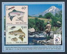 [38291] New Zealand 1998 Marine Life Fish Fishing Israel 98 MNH Sheet - Marine Life
