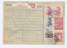 1987 CZECHOSLOVAKIA Post RECEIPT CARD FORM Registered STUROVO To BREZNO  Multi Stamps Cover - Covers & Documents