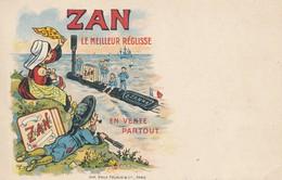 Carte Publicitaire Zan Le Meilleur Réglisse En Vente Partout - L'aurevoir Aux Marins Sur Leur Sous Marin - Imp Pécaud - Publicité